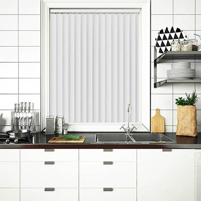 Made to Measure Rigid PVC Waterproof Replacement Vertical Blind Slats Nico White Lifestyle