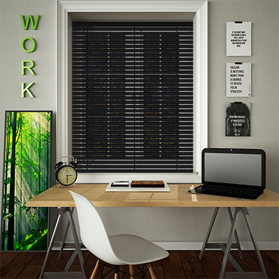 Venetian Blinds Perforated Black Opened