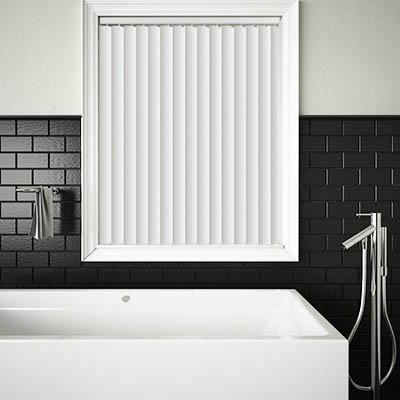 Made to Measure Rigid PVC Waterproof Replacement Vertical Blind Slats Pogo Brilliant White Lifestyle