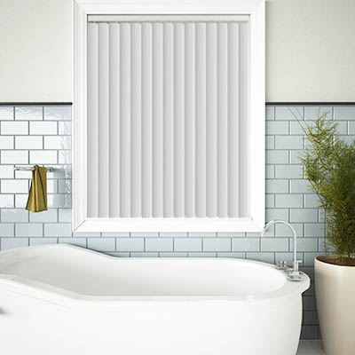 Made to Measure Rigid PVC Waterproof Replacement Vertical Blind Slats Pula Chalk White Lifestyle