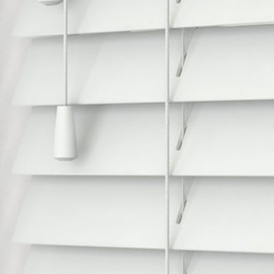Pure White Wooden Venetian Blind Close Up