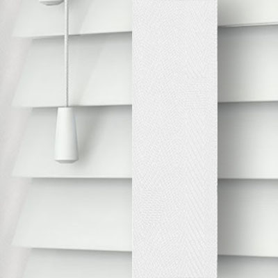 Pure White with Cotton Tape Wooden Venetian Blind Close Up
