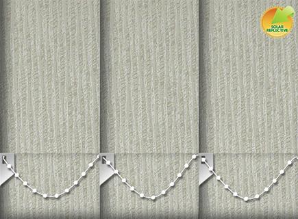 Made to Measure Solar Reflective Vertical Blinds Ribbon Solar Cream 3 Slats