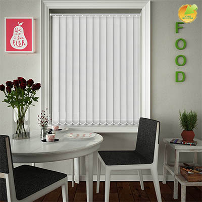 Made to Measure Solar Reflective Replacement Vertical Blind Slats Ribbon Solar White Main