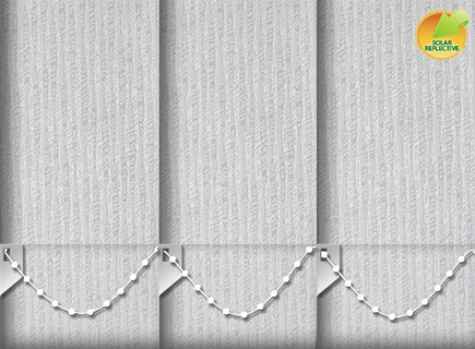 Made to Measure Solar Reflective Vertical Blinds Ribbon Solar White 3 Slats