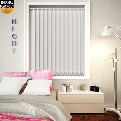 Made to Measure Royale Chalk White Blackout Replacement Vertical Blind Slats