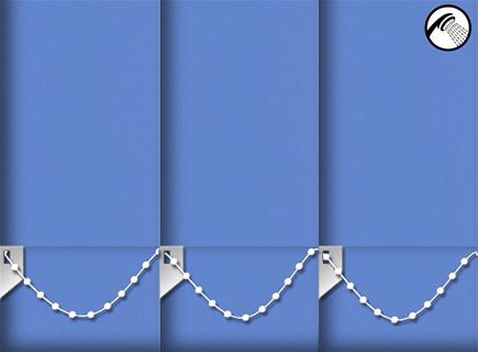 Made to Measure Waterproof Vertical Blinds Shower Safe Blue 3 Slats