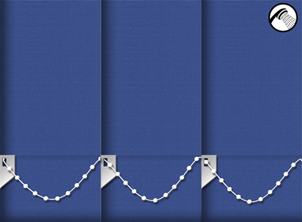 Made to Measure Waterproof Vertical Blinds Shower Safe Imperial Blue 3 Slats