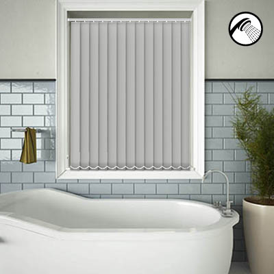 Made to Measure Waterproof Replacement Vertical Blind Slats Shower Safe Light Grey Main