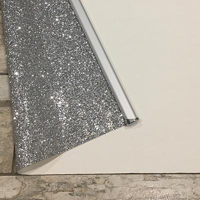 Silver Glitter Roller Blind Close Up Back