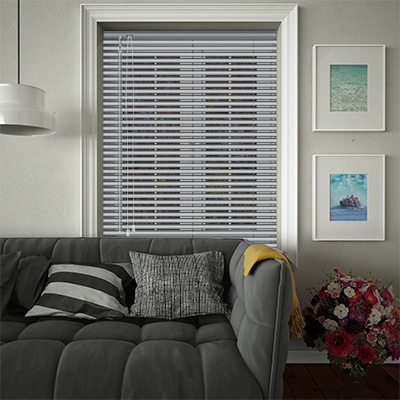 Venetian Blinds Silver Perforated Opened