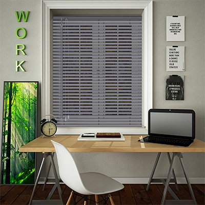 Venetian Blinds Textured Charcoal Opened