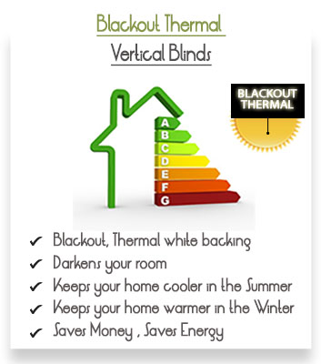 Made to Measure Thermal Blackout Vertical Blinds Thermal