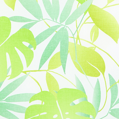 Made to Measure  Spring Loaded Cordless Roller Blinds Tropical Leaves Green