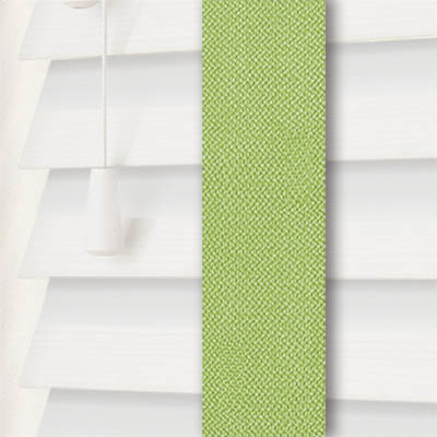 True White Wood Grain Faux Wood with Envy Tape  Wooden Venetian Blind Close Up