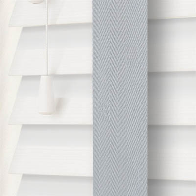 True White Wood Grain Faux Wood with Lunar Tape  Wooden Venetian Blind Close Up