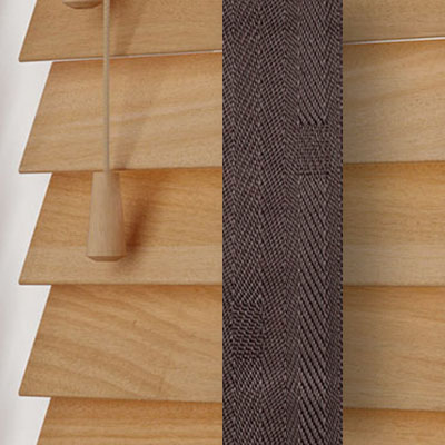 Tuscan Oak with Coffee Tape  Wooden Venetian Blind Close Up