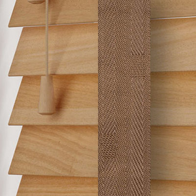 Tuscan Oak with Toffee Tape  Wooden Venetian Blind Close Up