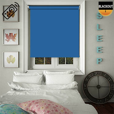 Blackout Blue Motorised Roller Blind