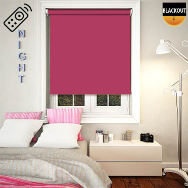 Blackout Fuschia Motorised Roller Blind