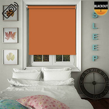 Blackout Mandarin Motorised Roller Blind