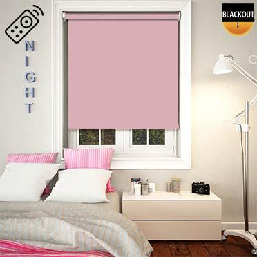 Blackout Pink Motorised Roller Blind