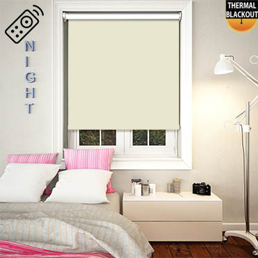 Blackout Thermic Butter Cream Motorised Roller Blind