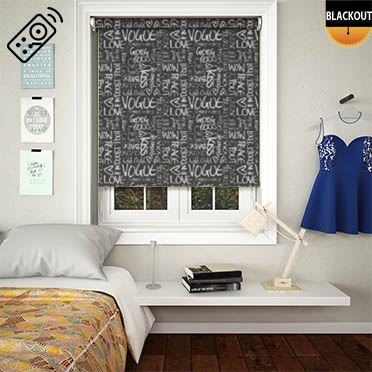 Buzzword Black Motorised Roller Blind