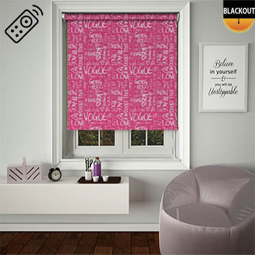 Buzzword Fuschia Motorised Roller Blind