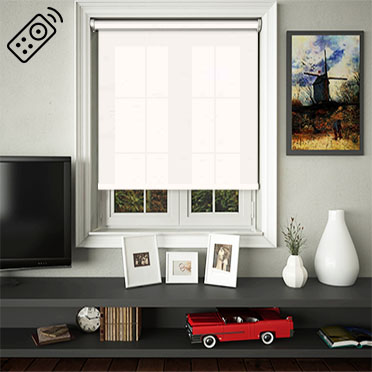 Cambric Glacier Motorised Roller Blind