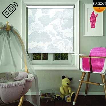 Cloudy Sky Motorised Roller Blind