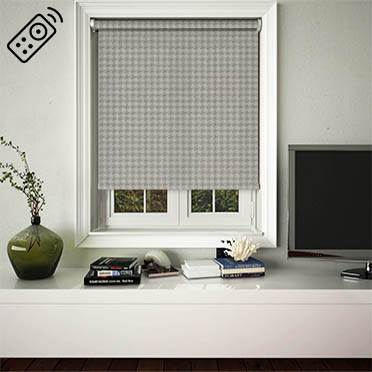 Dog Tooth Taupe Motorised Roller Blind