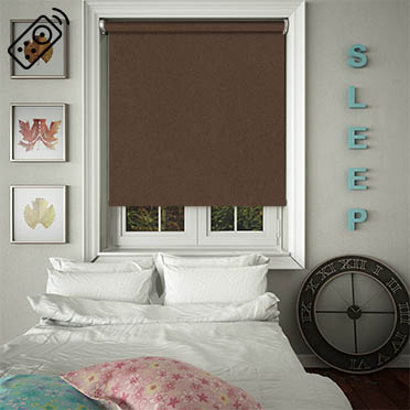 Faux Suede Cocoa Motorised Roller Blind