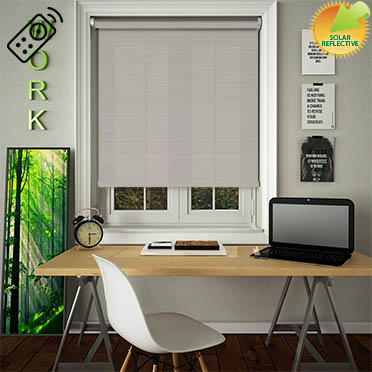 Lattice Solar Taupe Motorised Roller Blind