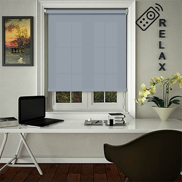 Luxe Blue Motorised Roller Blind