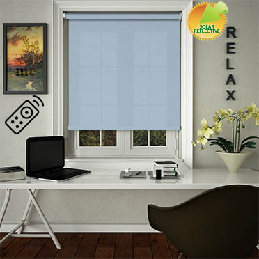 Ribbon Solar Blue Motorised Roller Blind