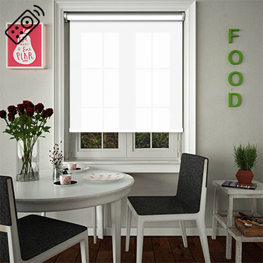 Sheer Grain White Motorised Roller Blind