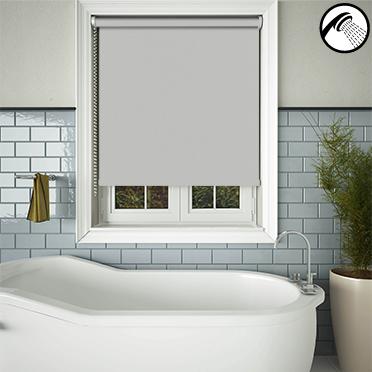 Shower Safe Light Grey 100 Waterproof For Bathrooms Roller Blinds