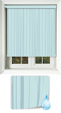 Aqua Ripple Misty Blue Cordless Roller Blind