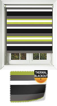 cento lime striped roller blinds