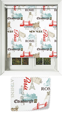 City Break Red Roller Blind