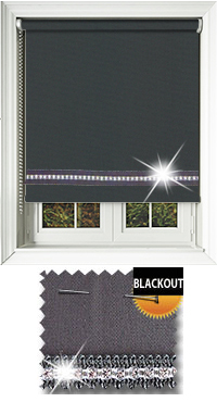 Diamonte Charcoal Motorised Roller Blind