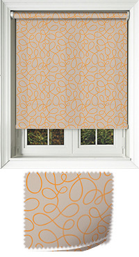 Doodle Orange Motorised Roller Blind