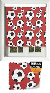 Footy Red Motorised Roller Blind