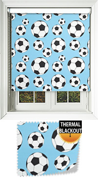 Footy Sky Blue Motorised Roller Blind