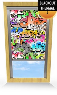 Graffiti Motorised Roller Blind