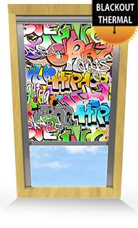 Graffiti Bifold Doors Blind