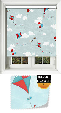 Kites Blues & Red Motorised Roller Blind