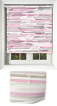 Linear Pink Motorised Roller Blind