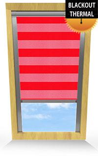Metallic Stripe Ruby Cordless Roller Blind